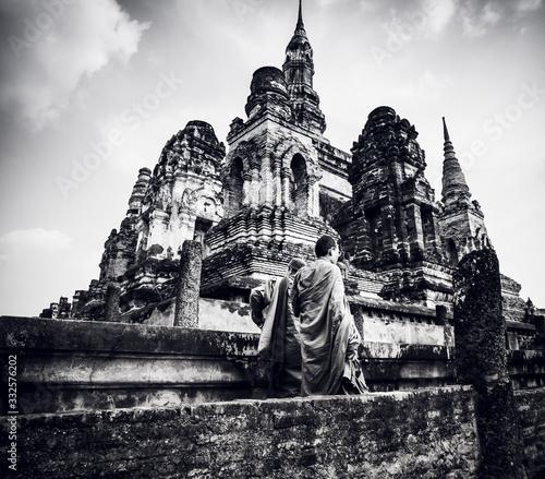 Canvastavla Monk for Visit Buddhist Temples at Unesco heritage Historical Park Sukhothai Thailand