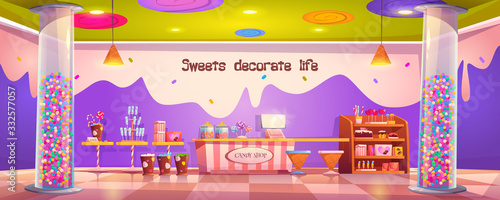 Fotografía Candy shop empty interior with various pastry, cashier desk, shelf and tables wi
