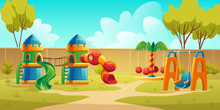Kids Playground In Summer Park, Garden Or Backyard With Carousel, Spiral Tube Slide And Swing. Vector Cartoon Illustration Of Kindergarten Play Ground, Castle With Slides On Green Lawn