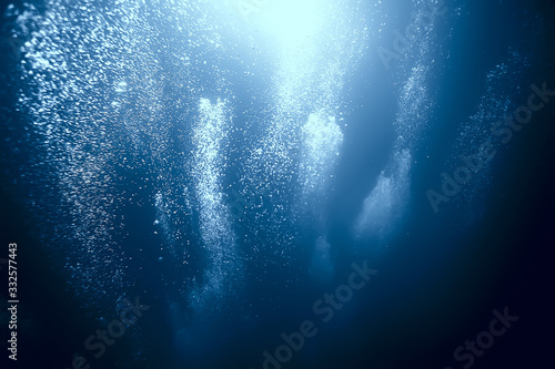 bubbles air under water ocean background diving nature abstract background under Fototapete