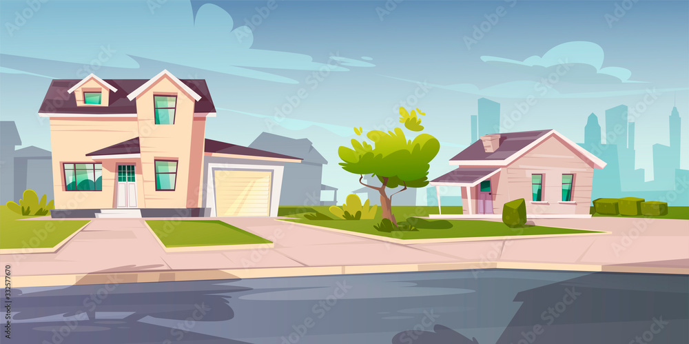 Fototapeta Suburban cottages, residential house with garage. Vector cartoon illustration of village mansions facade. Summer countryside landscape of with private buildings and town silhouettes on background