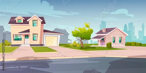 Fotografia, Obraz Suburban cottages, residential house with garage