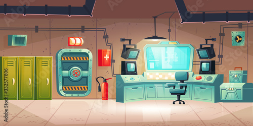 Photo Underground bunker interior with lockers, control panel with monitors, armored door