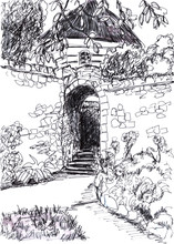 Graphic Black And White Sketch Of A House With Thatched Roof, Stone Fence And Ladder