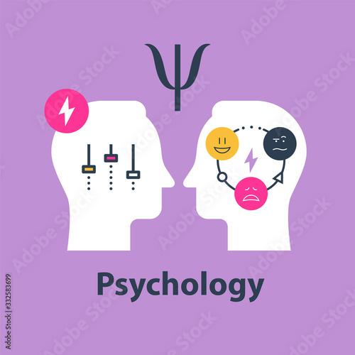 Valokuvatapetti Positive psychology concept, psychological test, control feelings, mood swing