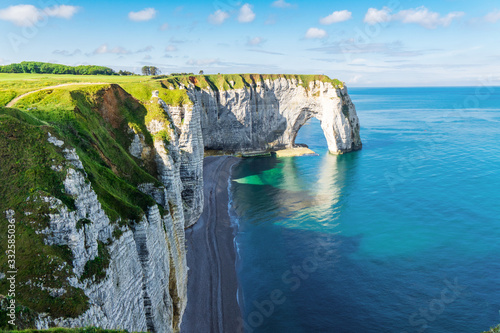 Beautiful cliffs Aval of Etretat, rocks and natural arch landmark of famous coas Canvas Print