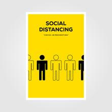 Social Distancing Sign Line Art Vector Poster Illustration Design