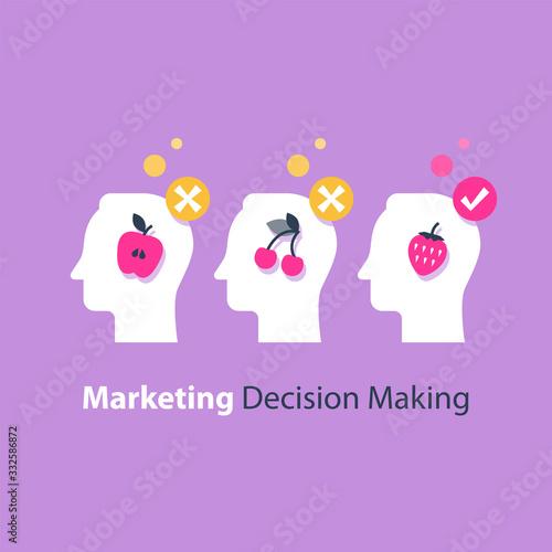 Valokuvatapetti Decision making, psychology of choice, focus group, marketing concept, mental tr