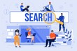 Searching Information in Internet, Communicating in Social Network, Shopping Online Trendy Flat Vector Concept. Multinational Men and Women Characters Using Laptop, Smartphone or Tablet Illustration