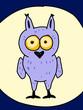 Funny comic character little owl full moon
