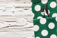 Green Polka Dot Napkin On Weat...