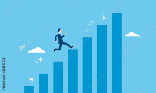 Fényképezés 走るビジネスマンとグラフのイラストイメージ