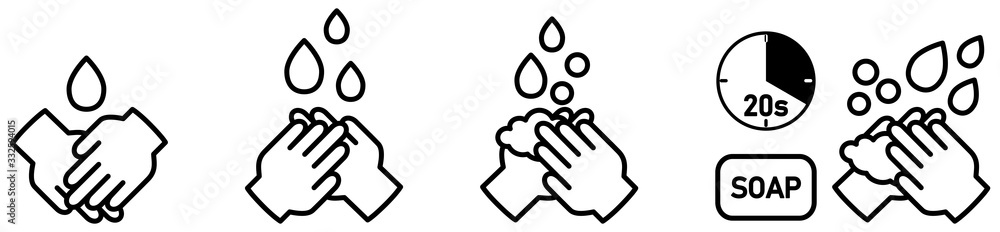 Fototapeta Wash your hands icons set, simple black and white hand drawing with drop, soap bubble and 20s timer sign - can be used during coronavirus covid19 virus outbreak prevention