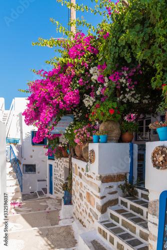 Fototapety, obrazy: Amorgos, (Lagada village) Greece (August 2019). Beautiful streets of Lagada village in Amorgos