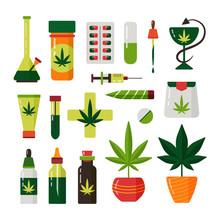 Cannabis Marijuana Plant Flat ...