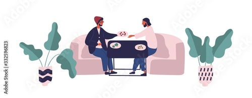 Two hipster guy sitting at table eating meal at food court vector flat illustration Wallpaper Mural