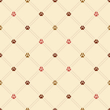 Seamless Rhombus Pattern With Various Realistic Dog Paw Prints And Dotted Stripes In Brown And Red Colors. Minimal Flat Texture For Textile, Cloth, Fabric, Wrapping. Vector Illustration.