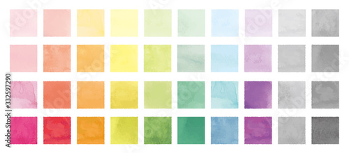 Fototapeta Vector set of rainbow watercolor square shapes. 水彩のベクター四角セット