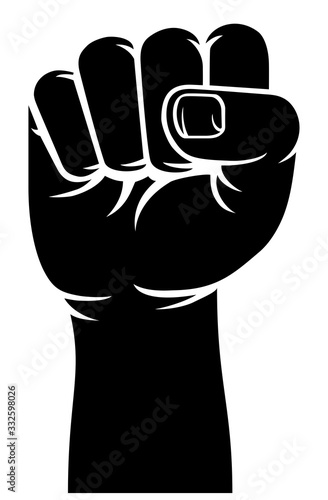 Fotografie, Tablou A stylised hand in a fist raised up in protest or revolution propaganda style si