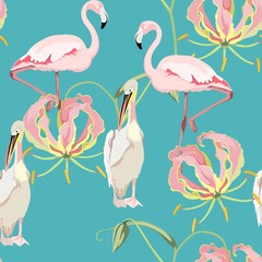 Panel Szklany Egzotyczne Tropical vintage exotic Pink Gloriosa flowers glory lily, pelican flamingo floral seamless pattern, vintage blue background. Exotic jungle bird wallpaper.