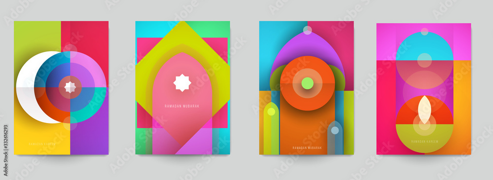 Fototapeta Ramadan kareem islamic beautiful design template. Minimal composition in paper cut style. Set holiday background for branding greeting card, banner, cover, flyer or poster. Vector illustration.