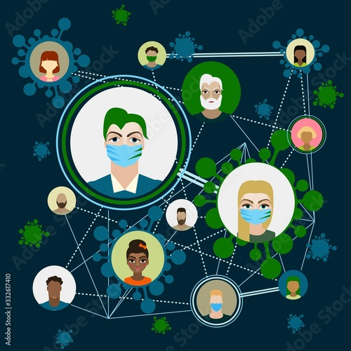 Fototapety, obrazy: People with mask to protect them from Corona virus, Ilustration vector graphic of Stop Corona Virus. Vector Illustration