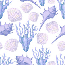 Blue Corals, Shells And Sea Sponges. Underwater World. Watercolor. Seamless Pattern.