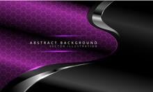 Abstract Purple Curve Hexagon Pattern With Silver Line On Dark Grey Design Modern Luxury Futuristic Background Vector Illustration.