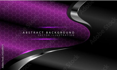 Fotografija Abstract purple curve hexagon pattern with silver line on dark grey design modern luxury futuristic background vector illustration