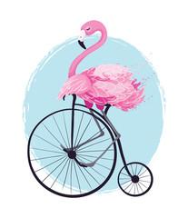 Fototapeta Vintage Cute flamingo vector illustration, seamless pattern, textile graphic, wallpaper designs.