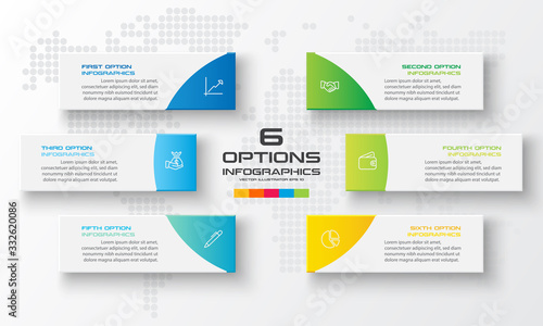 Photographie Business infographics template 6 steps rectangle,Vector illustration