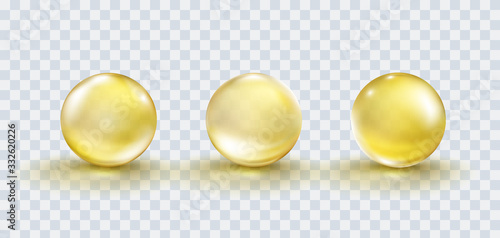 Tablou Canvas Gold bubble set isolated on transparent background