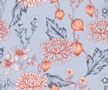 Eamless Floral Pattern With Ch...