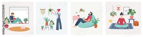 Fotografie, Obraz Quarantine, stay at home concept series - people sitting at their home, room or apartment, practicing yoga, enjoying meditation, relaxing on sofa, reading books, baking and listening to the music