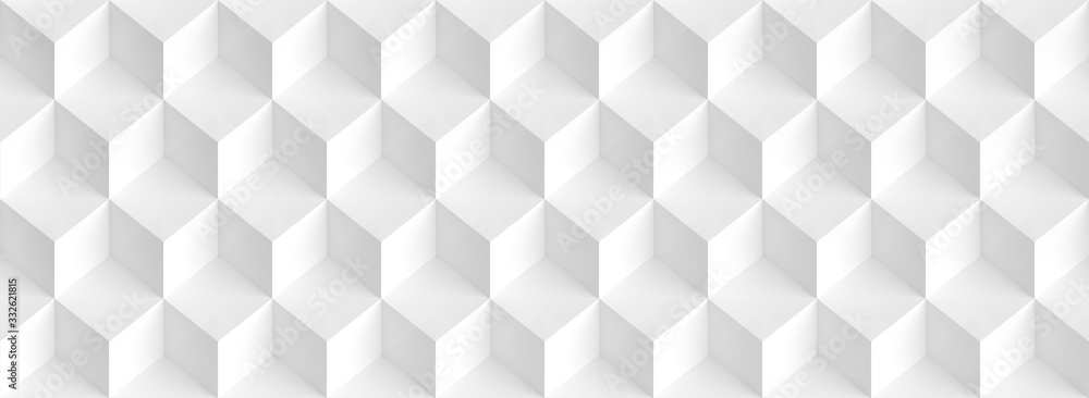 Fototapeta Abstract Cube Panoramic Background. White Graphic Design