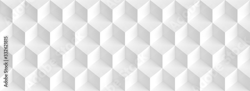 Abstract Cube Panoramic Background. White Graphic Design