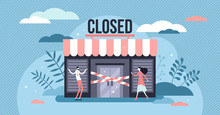 Closed Business Concept, Flat ...