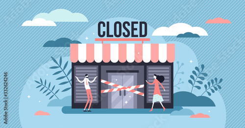 Closed business concept, flat tiny persons vector illustration Wallpaper Mural