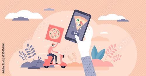 Fototapeta Home food delivery service concept, flat tiny person vector illustration obraz