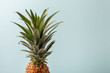 canvas print picture - Whole pineapple on pastel blue background. Copy space.