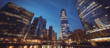 Panoramic View Of Chicago Skyline By Night