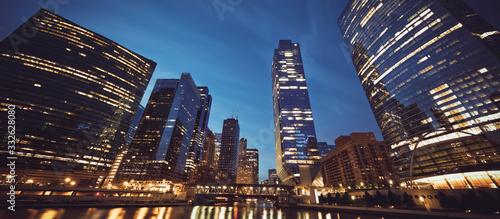 panoramic view of Chicago skyline by night Fototapeta