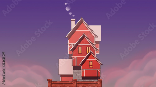 house on a hill on the Sunset painting Canvas Print