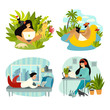 Freelancer people with laptop working vector illustration collection. From home office to tropics workplace. Digital nomad characters. Work on travel lifestyle concept. Isolated draw icon on white bac