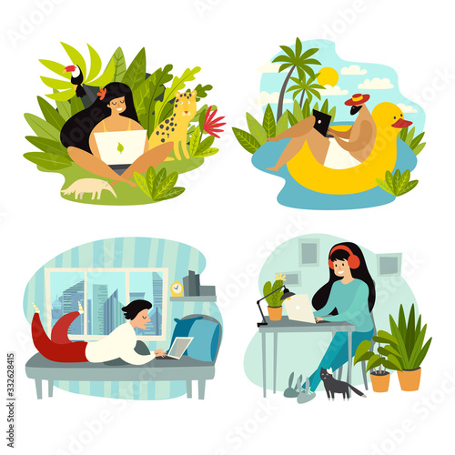 Fototapeta Freelancer people with laptop working vector illustration collection. From home office to tropics workplace. Digital nomad characters. Work on travel lifestyle concept. Isolated draw icon on white bac obraz