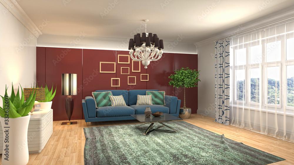 Fototapeta Interior of the living room. 3D illustration