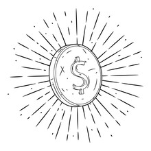 Coin. Hand Drawn Vector Illust...
