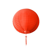 Red Chinese Paper Lantern Isolated On White Background. Chinese Traditional Decorating Knot And Lantern