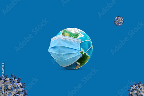 Creative corona (Covid-19) post concept realistic world wears mask  protect from viruses around the world. Effective and meaningful design for corona virus it say ''Stay Safe'' on the red background