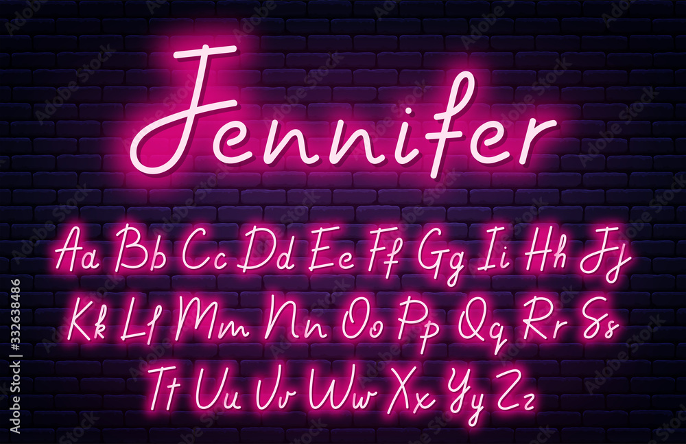 Fototapeta Glowing neon script alphabet. Neon font with uppercase and lowercase letters. Handwritten english alphabet with neon light effect